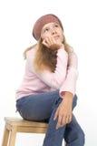 Mooi meisje in een baret stock afbeeldingen