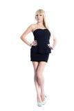 Mooi meisje in een donkere kleding Stock Fotografie