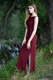 Mooi meisje in een kleding van Bourgondië Stock Afbeeldingen