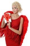 Mooi meisje in een kostuum van een rode engel Royalty-vrije Stock Foto's