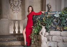 Mooi meisje in een rode kleding stock afbeeldingen