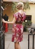 Mooi meisje in een roze kleding Royalty-vrije Stock Foto