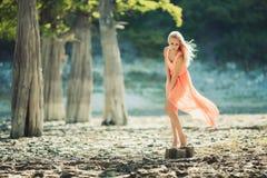 Mooi meisje in een roze kleding in het bos Stock Fotografie