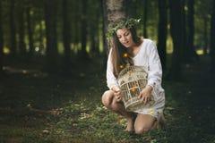 Mooi meisje en bosfeeën Royalty-vrije Stock Afbeeldingen