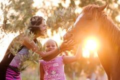 Mooi meisje en haar knap paard royalty-vrije stock afbeeldingen