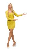 Mooi meisje in gele die kleding op het wit wordt geïsoleerd Stock Foto's