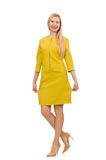 Mooi meisje in gele die kleding op het wit wordt geïsoleerd Royalty-vrije Stock Afbeelding