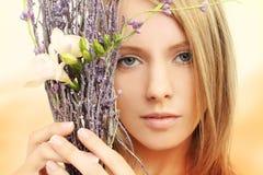 Mooi meisje - gezichtsclose-up Stock Foto's
