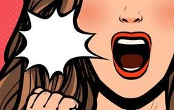 Mooi meisje of het jonge vrouw gillen Pop-art retro grappige stijl De vectorillustratie van het beeldverhaal vector illustratie