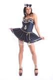Mooi meisje in het kostuum van de zeemanskleding Royalty-vrije Stock Fotografie