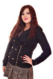 Mooi meisje in jasje en rok Stock Afbeelding