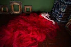 Mooi meisje in lange rode kleding en in koninklijke kroon Royalty-vrije Stock Afbeeldingen