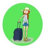 Mooi meisje met bagage in de luchthaven of het station Royalty-vrije Stock Foto