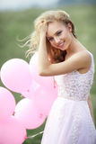 Mooi meisje met ballen Stock Fotografie