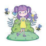 Mooi meisje met bijen in de gebiedskarakters stock illustratie
