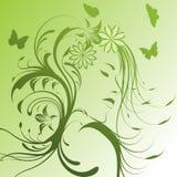 Mooi meisje met bloemen stock illustratie
