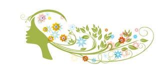 Mooi meisje met bloemenhaar Royalty-vrije Stock Afbeeldingen