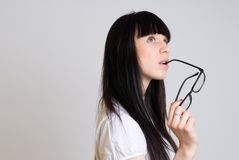 Mooi meisje met bril Royalty-vrije Stock Foto