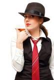 Mooi meisje met drinkbeker Stock Foto