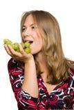Mooi meisje met een bos van druiven Stock Foto's
