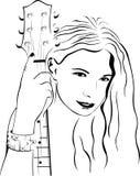 Mooi meisje met een gitaar stock illustratie
