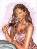 Mooi meisje met een glas wijn royalty-vrije illustratie