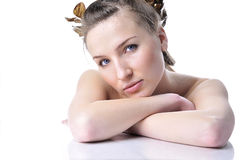 Mooi meisje met een goed-verzorgde huid Stock Foto