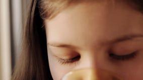 Mooi meisje met een kop thee bij het venster stock footage