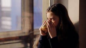 Mooi meisje met een kop thee bij het venster stock videobeelden