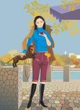 Mooi meisje met een kopkoffie Royalty-vrije Stock Afbeeldingen
