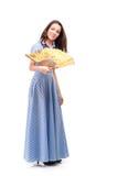 Mooi meisje met een ventilator in handen tegen witte achtergrond Royalty-vrije Stock Foto's