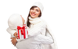 Mooi meisje met gift Royalty-vrije Stock Afbeelding