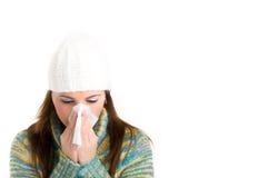 Mooi meisje met griep Stock Afbeelding