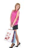 Mooi meisje met haar het winkelen zakken Stock Foto