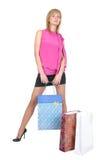 Mooi meisje met haar het winkelen zakken Stock Afbeeldingen