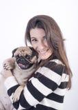 Mooi meisje met hond Royalty-vrije Stock Afbeelding