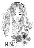 Mooi meisje met hoofdtelefoons vector illustratie