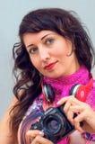 Mooi meisje met hoofdtelefoons Stock Fotografie