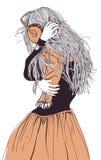Mooi meisje met hoofdtelefoons stock illustratie