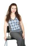Mooi meisje met krullend haar Stock Foto