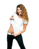 Mooi Meisje met Lege T-shirt Royalty-vrije Stock Fotografie