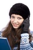 Mooi meisje met mobiele telefoon Royalty-vrije Stock Foto