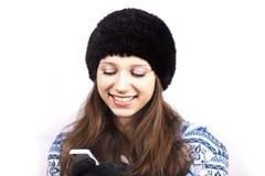 Mooi meisje met mobiele telefoon Royalty-vrije Stock Foto's