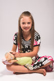 Mooi meisje met muis Stock Afbeelding