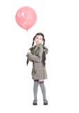 Mooi meisje met roze ballon Royalty-vrije Stock Foto's