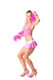 Mooi meisje met roze sjaal Stock Fotografie