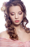 Mooi meisje met rozen Royalty-vrije Stock Foto
