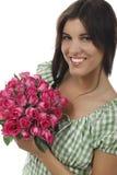 Mooi meisje met rozen Stock Foto
