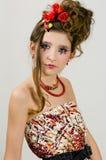 Mooi meisje met speciale oogmake-up Royalty-vrije Stock Afbeeldingen