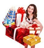 Mooi meisje met stapel van giftdoos. royalty-vrije stock foto
